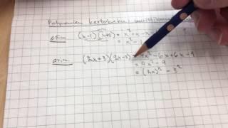 Polynomien kertolaskua: Muistikaavat, summan ja erotuksen tulo