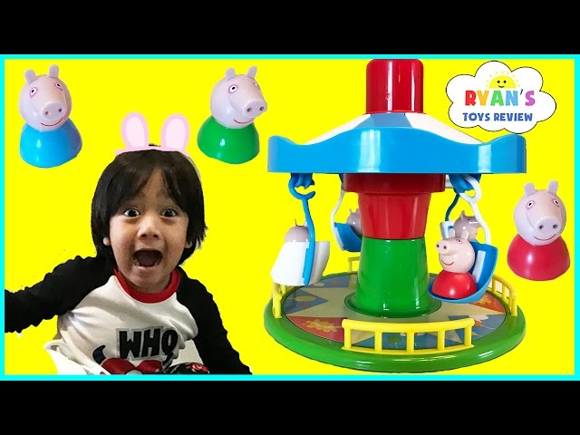 PEPPA PIG MERRY GO ROUND GAME for Kids Fairground Ride Egg Surprise Toys Family Fun Game Night