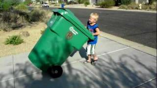 Recycle Kid waiting for the garbage truck in Mesa Arizona