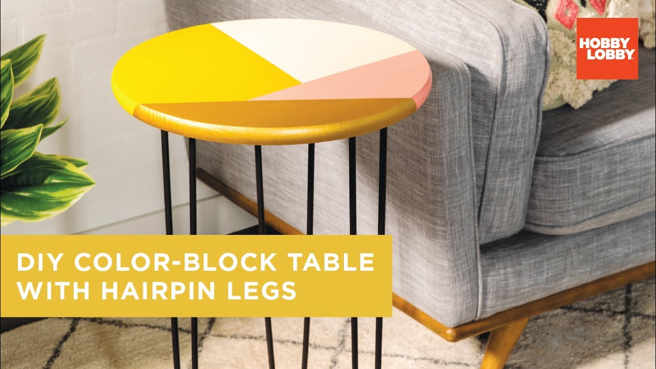 Diy Color Block Table With Hairpin Legs Hobby Lobby Youtube