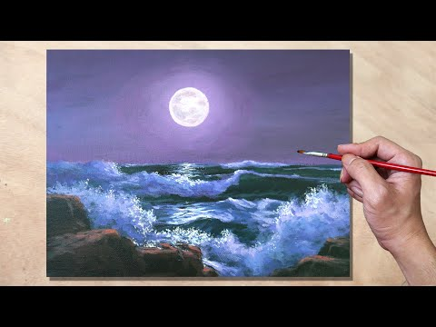 Acrylic Painting Moonlight Seascape