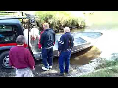 Jeep and Eide boat loader