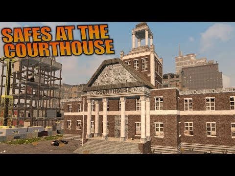 SAFES AT THE COURTHOUSE | 7 Days to Die | Let's Play Gameplay Alpha 16 | S16.4E59