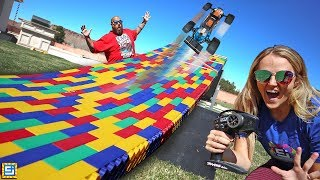 JUMPING MY GIANT MEGA BLOCK LEGO RC TRUCK RACE TRACK RAMP!