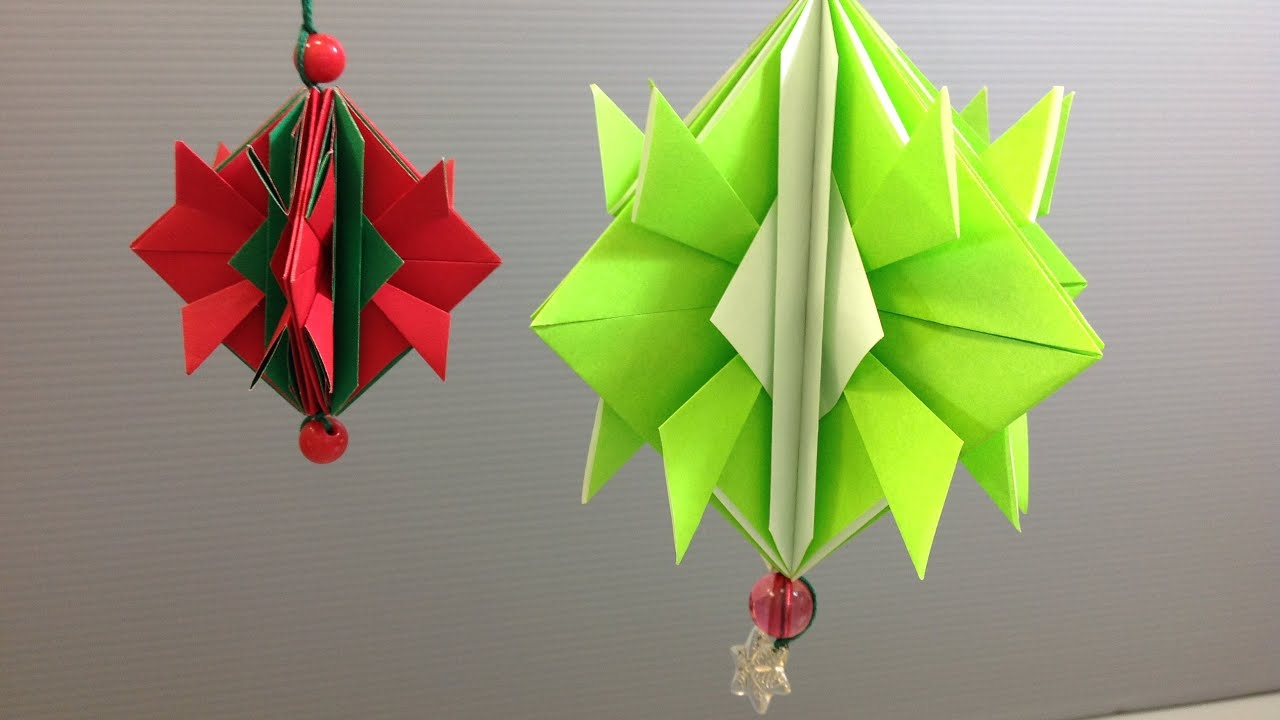 Easy origami christmas ornament decoration youtube for Decoration origami