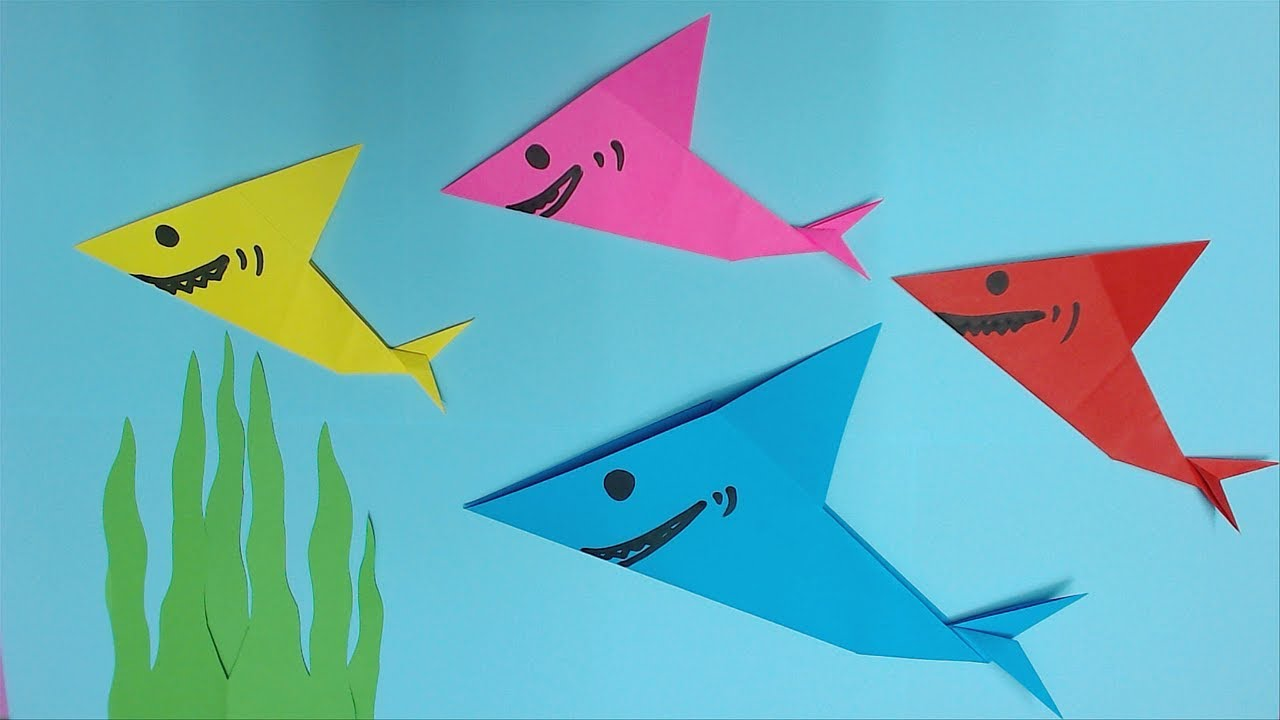 How to Make Shark with Color Paper | DIY Paper Sharks Making - YouTube