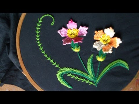 Hand embroidery designs. Hand embroidery stitches tutorial.  woven picot variation.