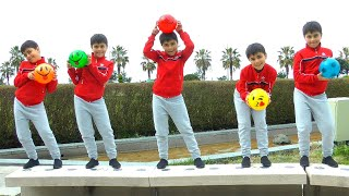 Learn Smile Balls colors with Guka and five little monkeys jumping on the bad song for kids