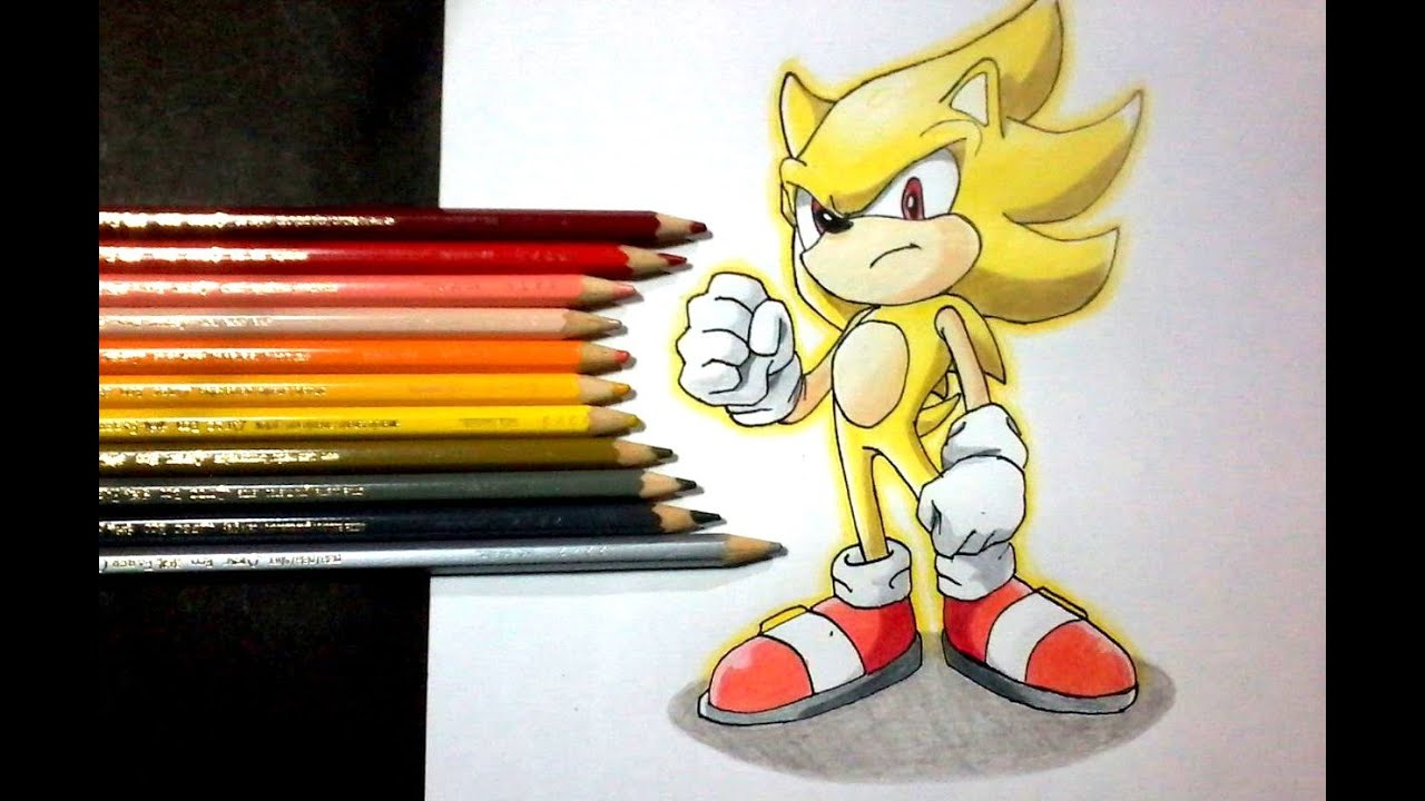 Dibujando a SUPER SONIC SEGA  Drawing SUPER SONIC  YouTube