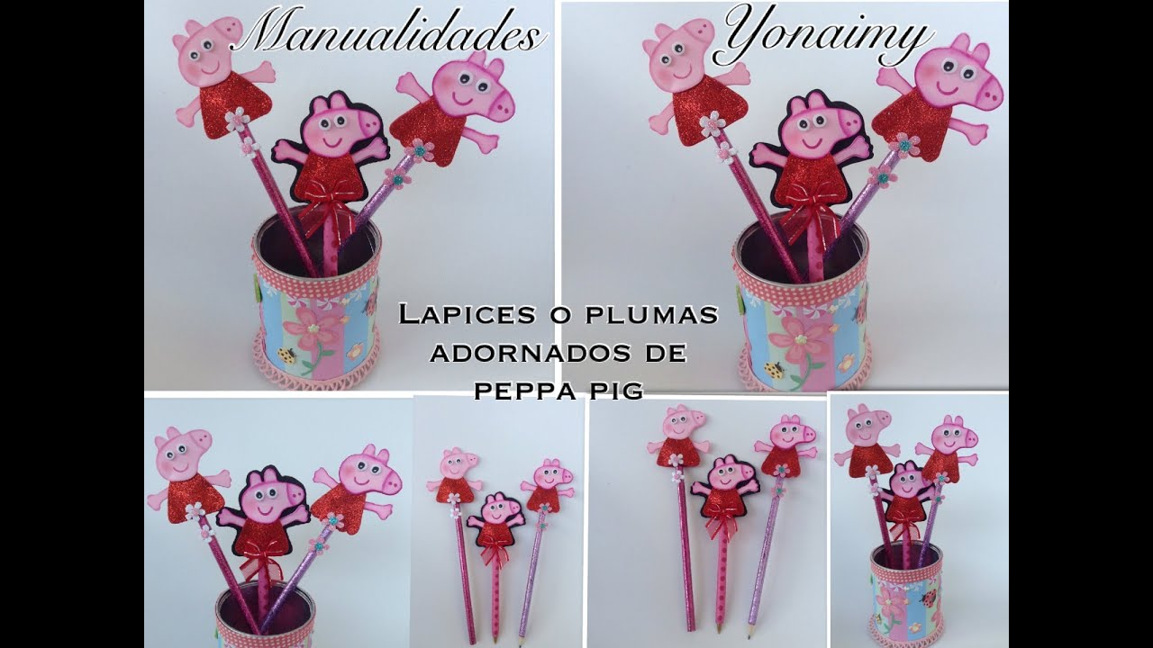 Lapices o plumas adornados con peppa pig youtube for Adornos para lapices en goma eva