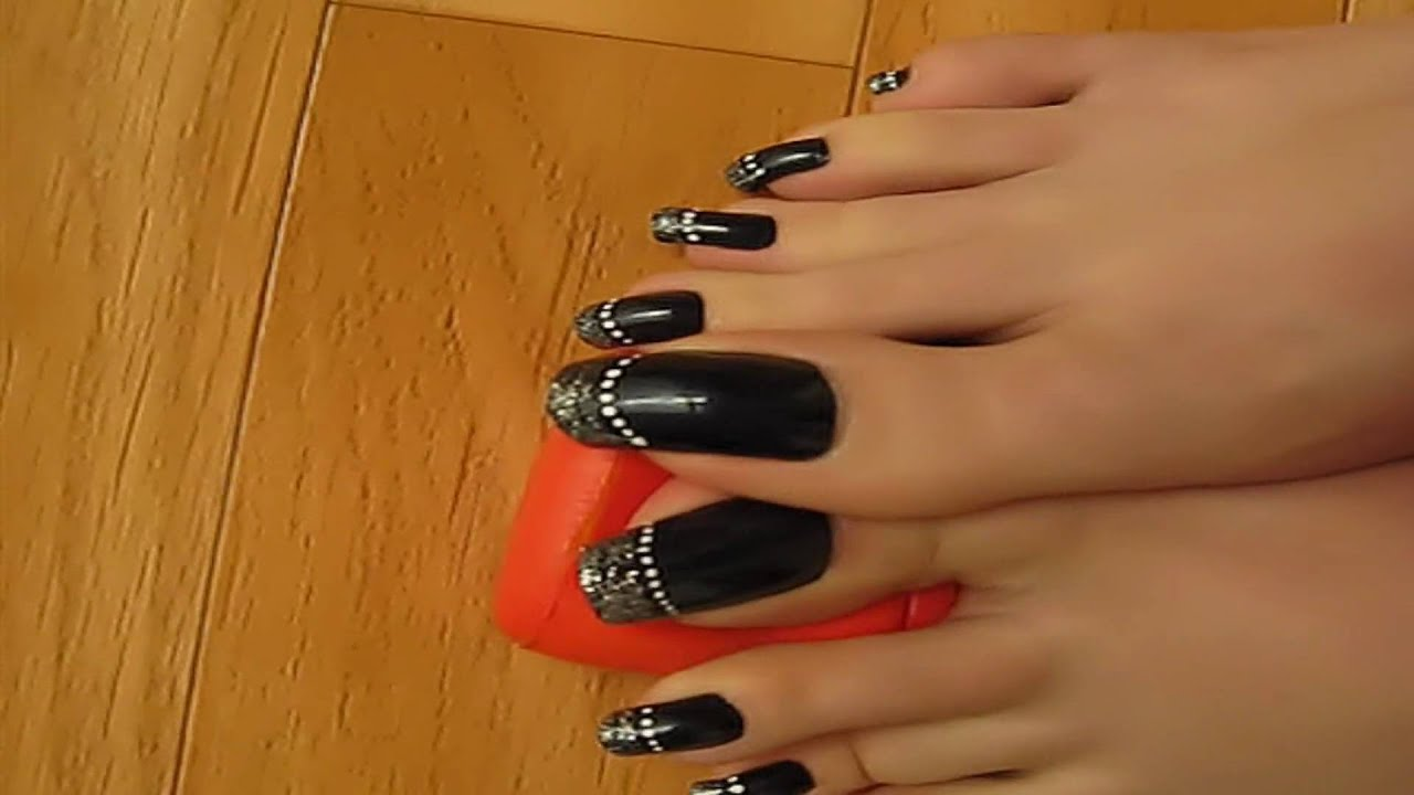 Silver French On Black Toenails