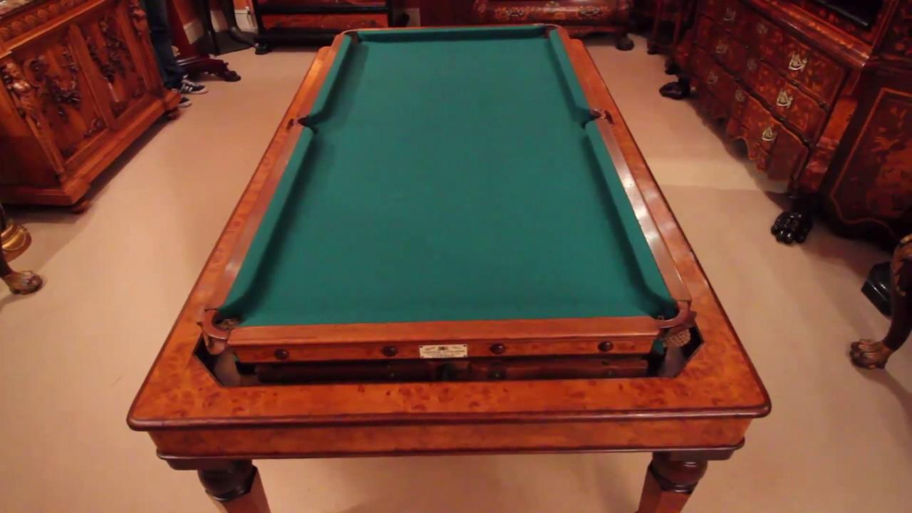 Antique Victorian Pollard Oak Rollover Snooker Dining Table Youtube