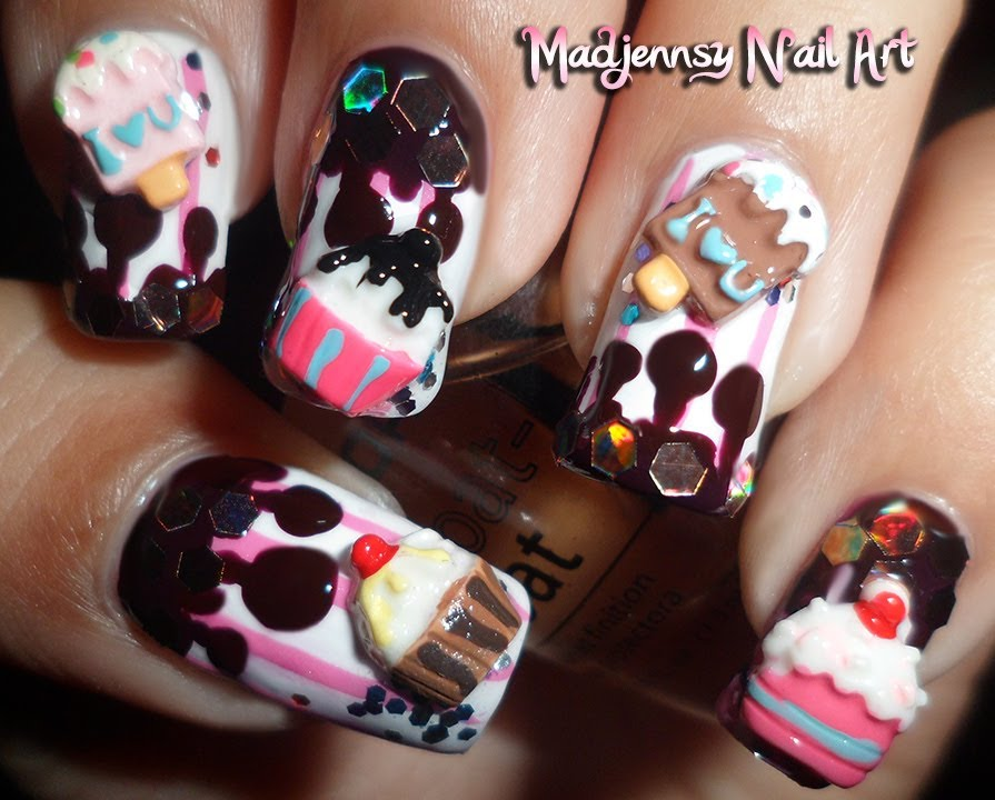 Cupcake Ice-Cream Melted Chocolate 3D Nail Art ...