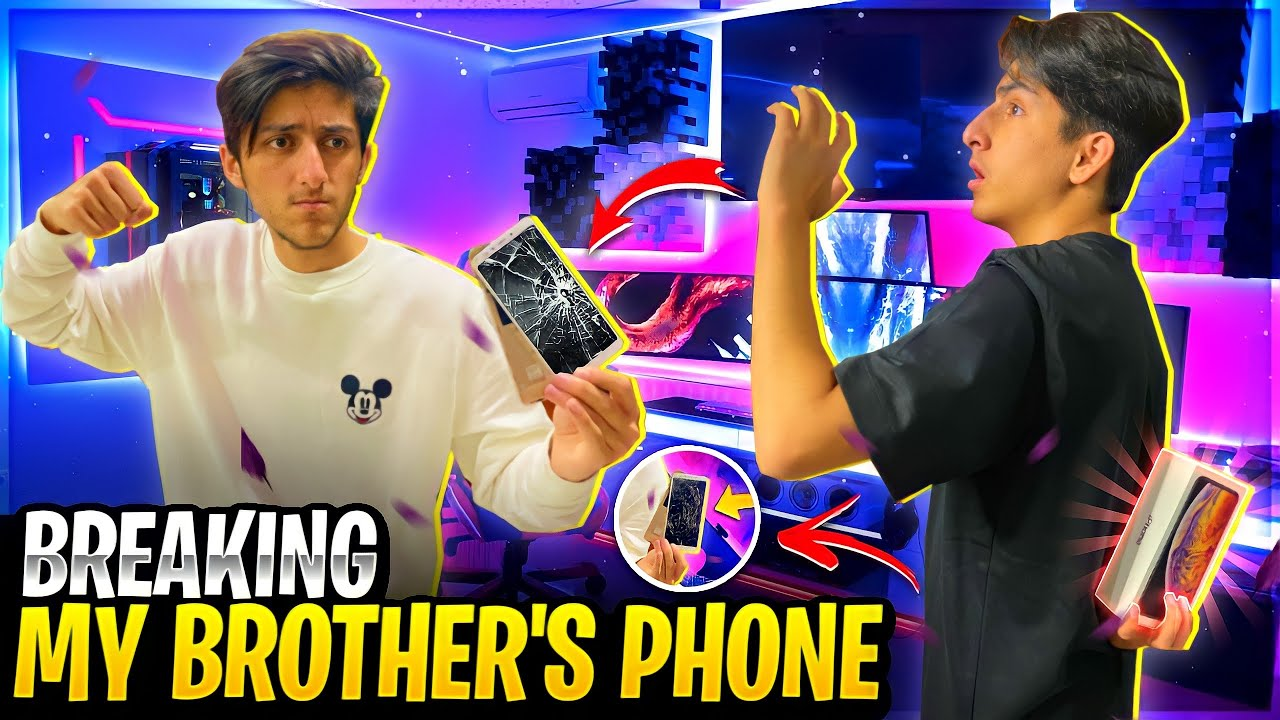 Breaking My Brother's Phone And Gifting Him I Phone 12 ? Angry Reaction 😡 - Garena Free Fire