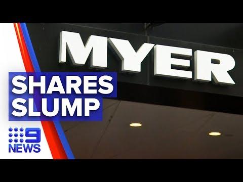 Myer's Shares Slump To New Record Low | Nine News Australia