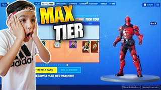 Surprising Little Brother With Fortnite Season 10 MAX Battle Pass! He Freaked Out!