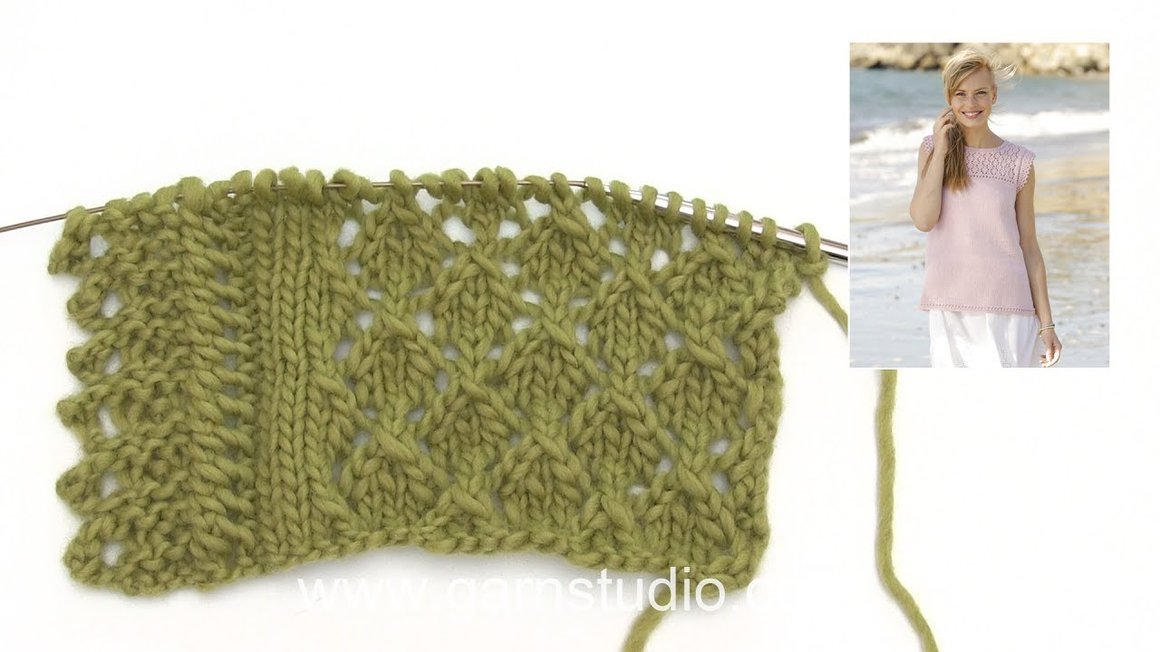 How to knit the lace pattern and lace edge in DROPS 176-12 - YouTube