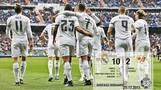 Real Madrid 10-2 Rayo Vallecano (La Liga 2015/16, matchday 16)