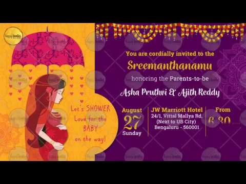 Baby shower party ceremony video invitation animated baby shower party ceremony video invitation animated sreemanthanamu godh bharai stopboris Image collections