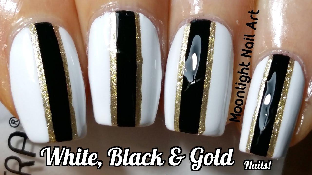 White Black Gold Nail Art Design Striping Tape Tutorial Youtube