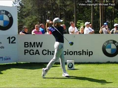 Tommy Fleetwood golf swing (face-on) Driver, BMW PGA Wentworth, May 2017.