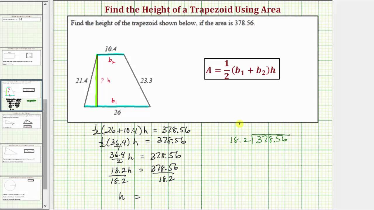 Ex find the height of a trapezoid given area youtube ex find the height of a trapezoid given area ccuart Choice Image