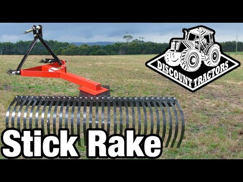 Discount Tractors - Stick Rake Demonstration - YouTube