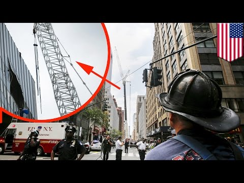 New York crane accident: cable snaps sending AC unit plummeting 28 storeys - TomoNews