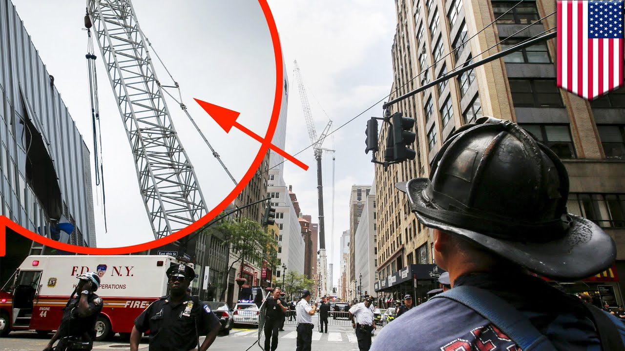 New York crane accident cable snaps sending AC unit