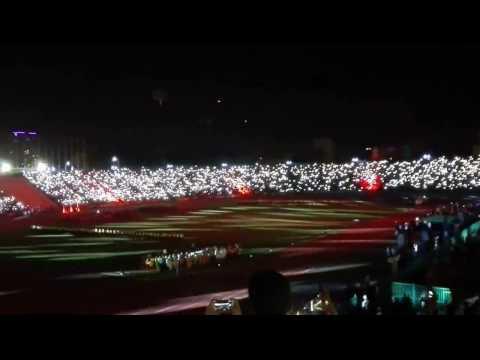 Beautiful flash light at Olympic stadium Phnom Penh . Amazing Cambodia