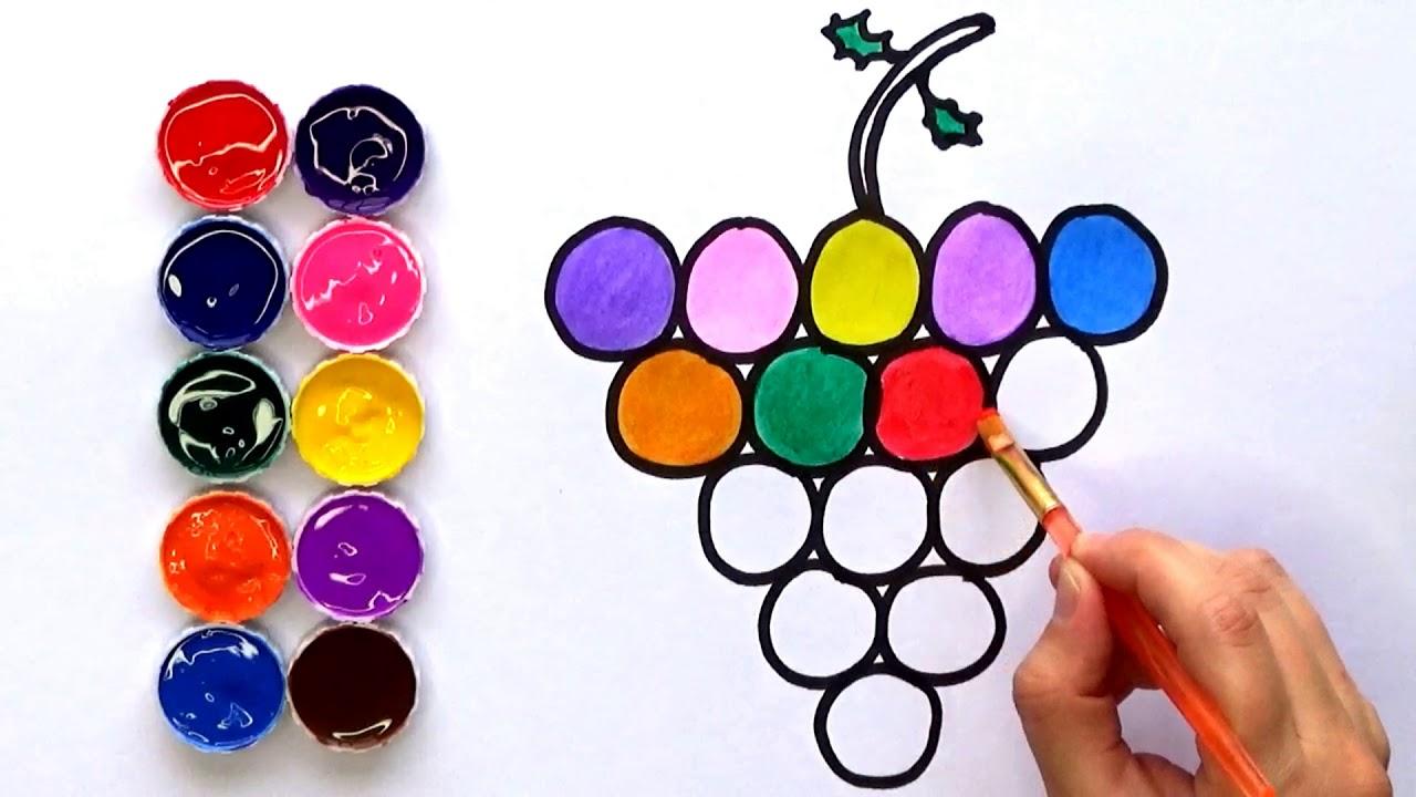 Dibujar Y Colorear Uvas De Colores Dibujos Para Niños Amiguitos123