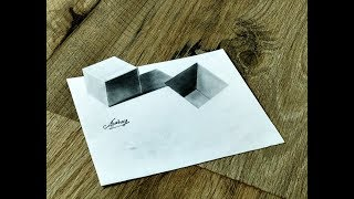 How To Draw a 3D Cube and Hole - Amazing Optical illusion - Art Maker Akshay