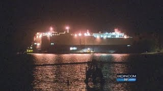 Giant cargo ship runs aground in Columbia River