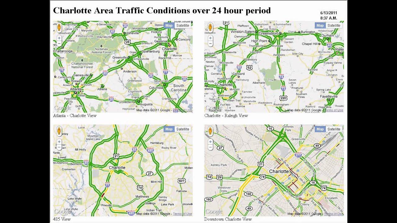 Charlotte Google Map Traffic Timelapse - YouTube