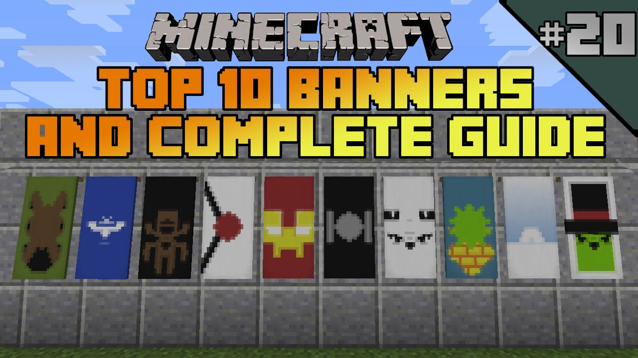 Minecraft top 10 banner designs! Ep 20 With tutorial! - YouTube