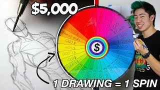 Download 1 DRAWING = 1 SPIN ! Art Roulette - $5,000 (speed drawing challenge) Mp3 and Videos