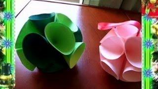 Проект НОВЫЙ ГОД - 3D Шар из Цветной Бумаги(Другие Новогодние Поделки Проект