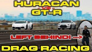 Nissan GT-R driver KICKS passenger out of car to race a Lamborghini Huracan!