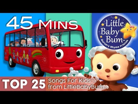 Thumbnail: Wheels On The Bus + Bath Song + Ten Little Buses + More | Top 25 Songs for Kids | By LittleBabyBum!