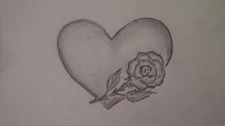 Como dibujar una rosa con un corazon. Dibujando flores. Como desenhar uma rosa com um coração