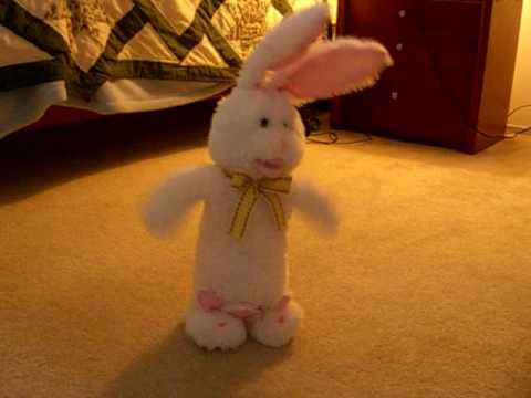 soft white easter bunny doll plush toy singing dancing here comes peter cotton tail may 2016