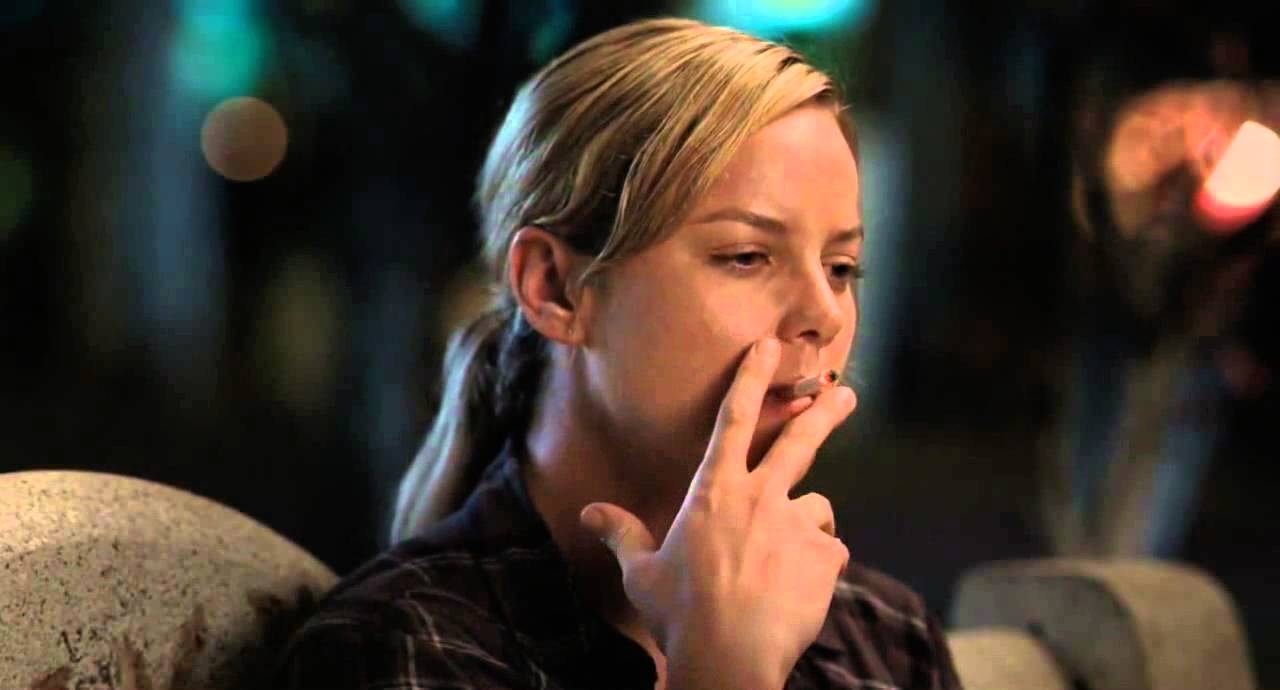 Abbie Cornish smoking a cigarette (or weed)