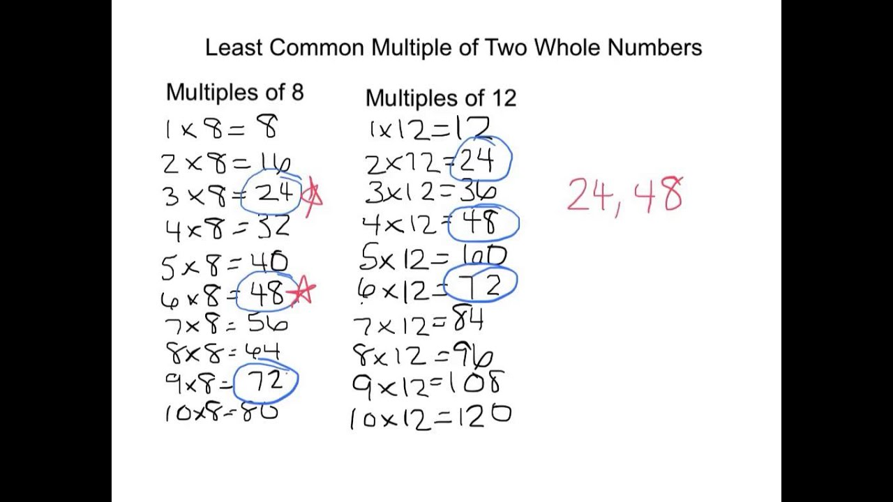 worksheet Lowest Common Multiple Worksheet finding the least common multiple of two whole numbers youtube