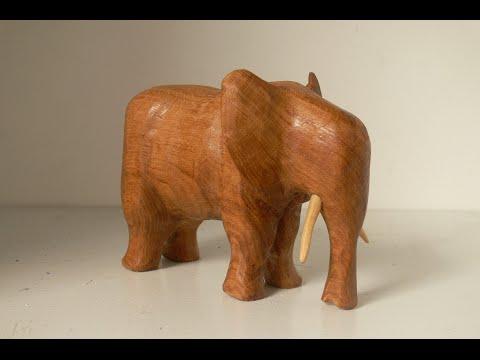 Wood Carving An Elephant