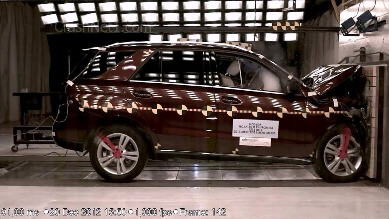 2013 Mercedes Benz Ml350 Frontal Crash Test Nhtsa Crashnet1 Youtube