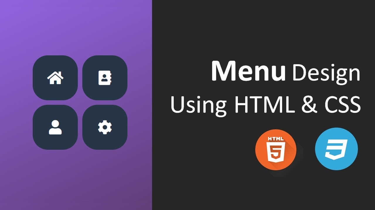 Menu Design using HTML and CSS | Tile Menu using HTML and CSS