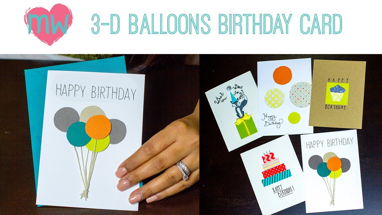 diy d balloon birthday card, Birthday card