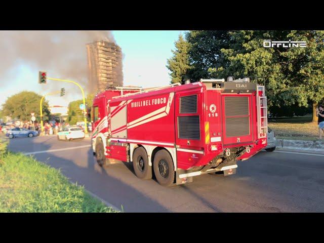 Incendio in pochi minuti distrugge intero palazzo a Milano, via Giacomo Antonini, 34   30.08.2021