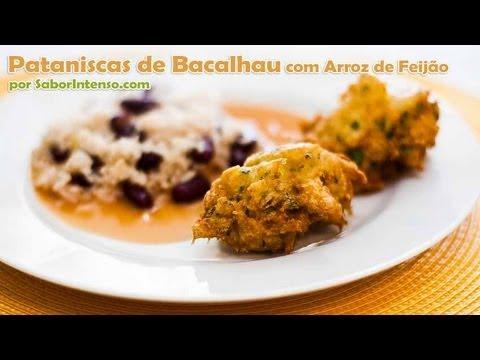 Receita de Pataniscas de Bacalhau com Arroz de Feijão