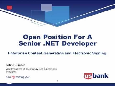 U.S. Bank Senior .NET Developer Position - Minneapolis, Minnesota